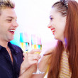 Portrait of young nice couple celebrating some occasion — Stock Photo #25982131