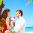 Portrait of attractive couple having date on the beach — Foto Stock