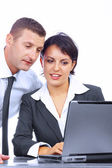 View of work couple interacting in a natural work environment — Stock Photo