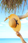 View of nice tropic scene with sailor-hat and hand — Stock Photo