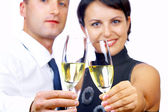 Portrait of young nice couple celebrating some occasion — Stock Photo