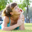 Stock Photo: Portrait of young beautiful womin summer environment
