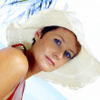 View of female in sailor-hat on a background of the tropical sea — Foto Stock