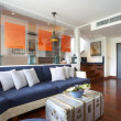 Panoramic view of nice light living room. Images on wall was contorted. — Stockfoto