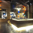 Panoramic view of nice stylish reception desk during nighttime - Zdjęcie stockowe