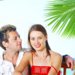 A portrait of attractive couple having date on the beach — Stock Photo #26055251