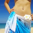Close-up view of nice womans belly in summer environment — Stock Photo