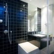 View of nice glassed stylish bathroom interior - Foto Stock