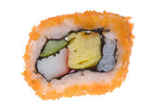 Close up view of fresh sushi roll isolated on white back — Stok fotoğraf