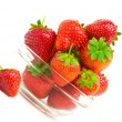 High key photo of fruit dish filled with nice red strawberries — Lizenzfreies Foto