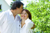 Portrait of young happy couple in summer environment — Stock Photo