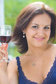 Portrait of happy young woman having good time — Stock Photo