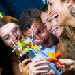 Portrait of young attractive having fun in night club — 图库照片