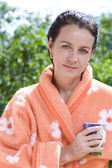 Portrait of nice brunette in summer environment — Stock Photo