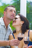 Portrait of young happy couple in domestic environment — Stock Photo