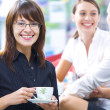 Photo: Portrait of young pretty women having coffee break in office environment