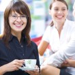 Foto Stock: Portrait of young pretty women having coffee break in office environment