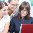 Portrait of young pretty women discussing project in office environment — Stock Photo