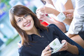 Portrait of young pretty women having coffee break in office environment — Stock Photo