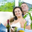 Portrait of young happy couple in domestic environment — Stockfoto