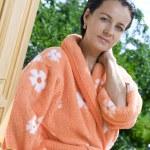 Portrait of nice brunette in summer environment — Stock Photo #26185077