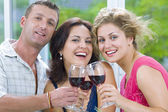 Portrait of young happy attractive having some wine — Stock Photo