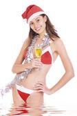 Retrato de joven hermosa navidad en blanco trasero — Foto de Stock