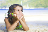 Portrait of little girl having good time in summer environment — Stock Photo