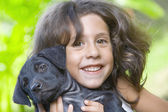 Girl with dog — Foto Stock