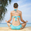 Portrait of young woman practicing yoga in summer environment - Stock Photo