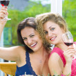 Stock Photo: Portrait of two young attractive girls having good time