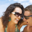 A portrait of attractive couple having fun on the beach — Foto de Stock