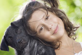 Girl with dog — Foto de Stock