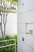 View of nice stylish summer house shower place — Foto Stock