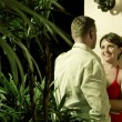 Portrait on nice couple having good time in tropic environment — Foto Stock
