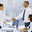 Portrait of young business discussing project in office environment — Stock Photo #28757459