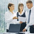 Portrait of young business discussing project in office environment — Stock Photo #28757671