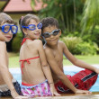 Portrait of little kids having good time in summer environment — Stock Photo #28758911