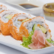 Stock Photo: Close up view of nice delicious sushi meal on white back
