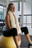 Portrait of young nice woman getting busy in gym — Foto de Stock