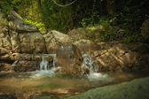 Panoramic view of nice tropic jungle and huge boulders — Stock Photo