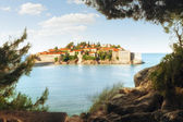 Panoramic view of nice antique island with convent on it — Stock Photo