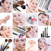 Make up mix Cosmetic theme collage composed of different images — Stock Photo