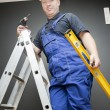Worker standing on a ladder — Stock Photo