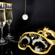 Champagne, Venetian masks and watch — Stock Photo #37212587