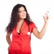 Attractive nurse or woman doctor with syringe — Stock Photo #9299373