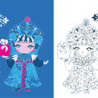 Snow Maiden russian style — Stock Vector