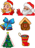 рождественские персонажи и подарки — Cтоковый вектор