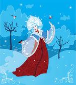 Snow Maiden russian style — Stock Vector