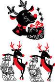 Xmas reindeer Rudolf — Stock Vector